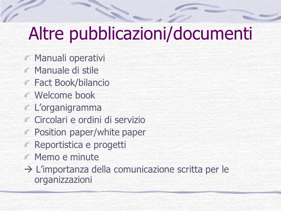 Altre pubblicazioni/documenti