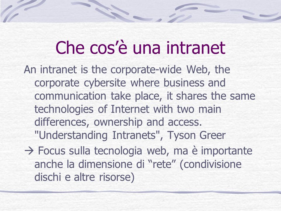 Che cos'è una intranet