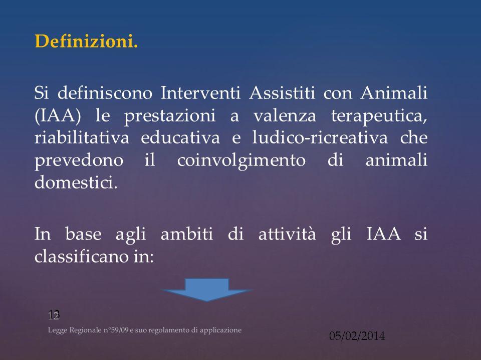 In base agli ambiti di attività gli IAA si classificano in: