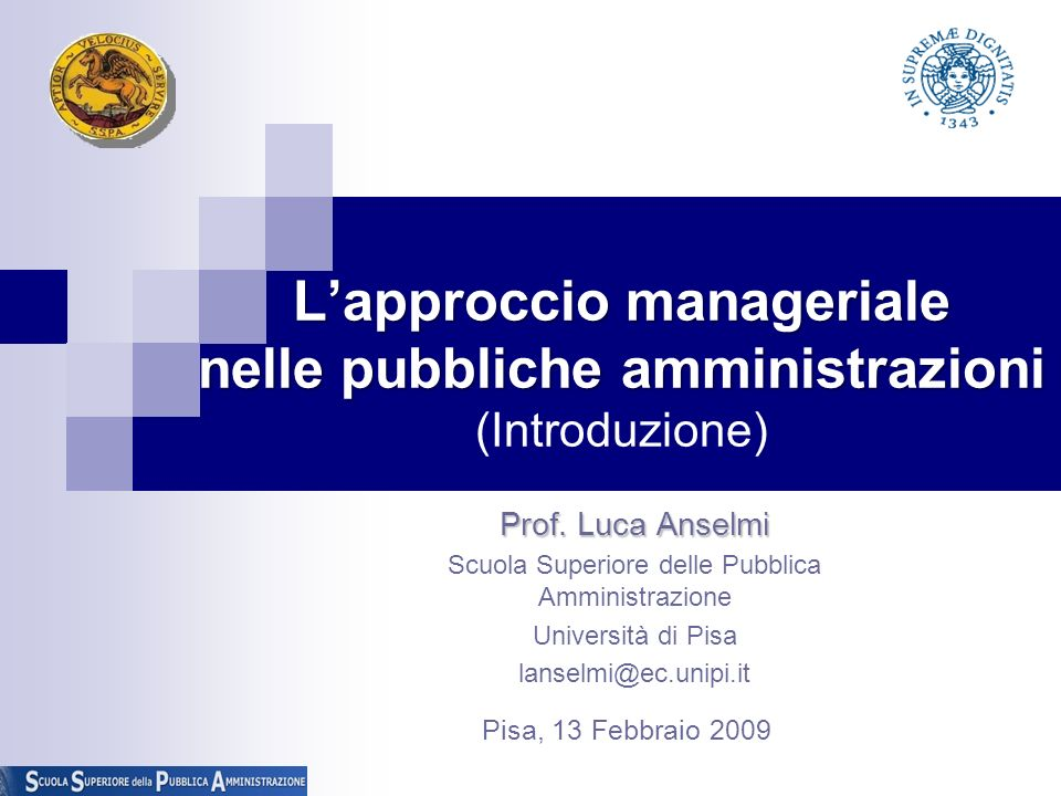 L'approccio manageriale nelle pubbliche amministrazioni (Introduzione)