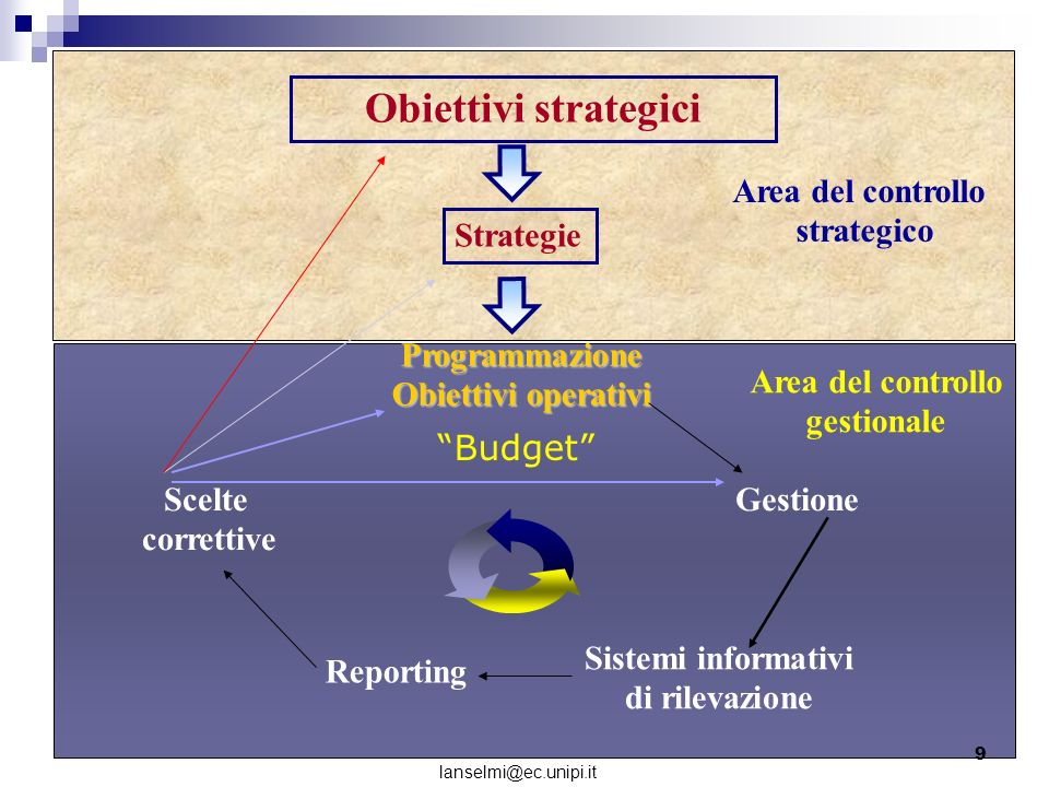 Obiettivi strategici Budget Area del controllo strategico Strategie
