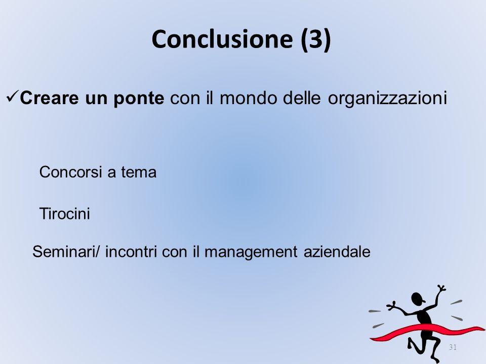 Conclusione (3) Creare un ponte con il mondo delle organizzazioni