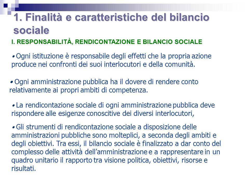 1. Finalità e caratteristiche del bilancio sociale