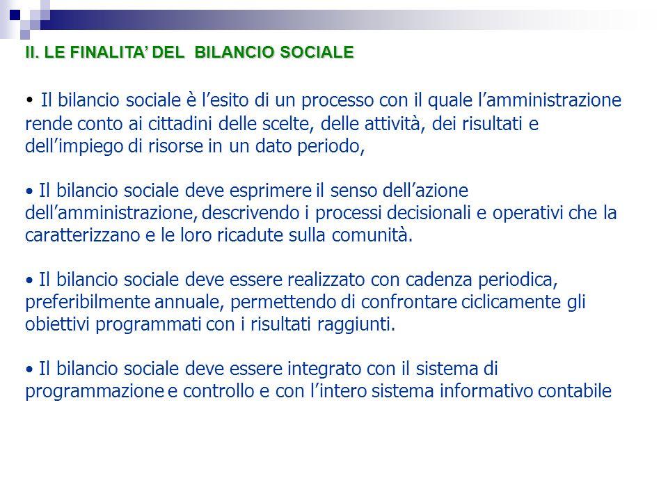 II. LE FINALITA' DEL BILANCIO SOCIALE