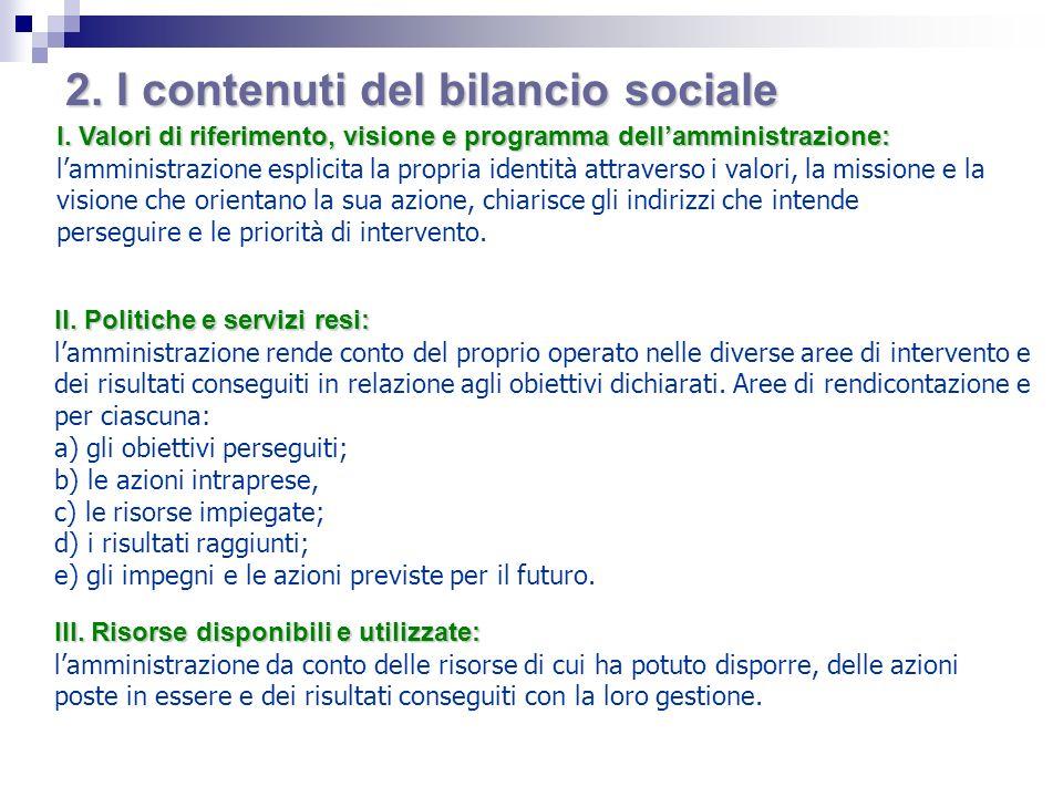 2. I contenuti del bilancio sociale
