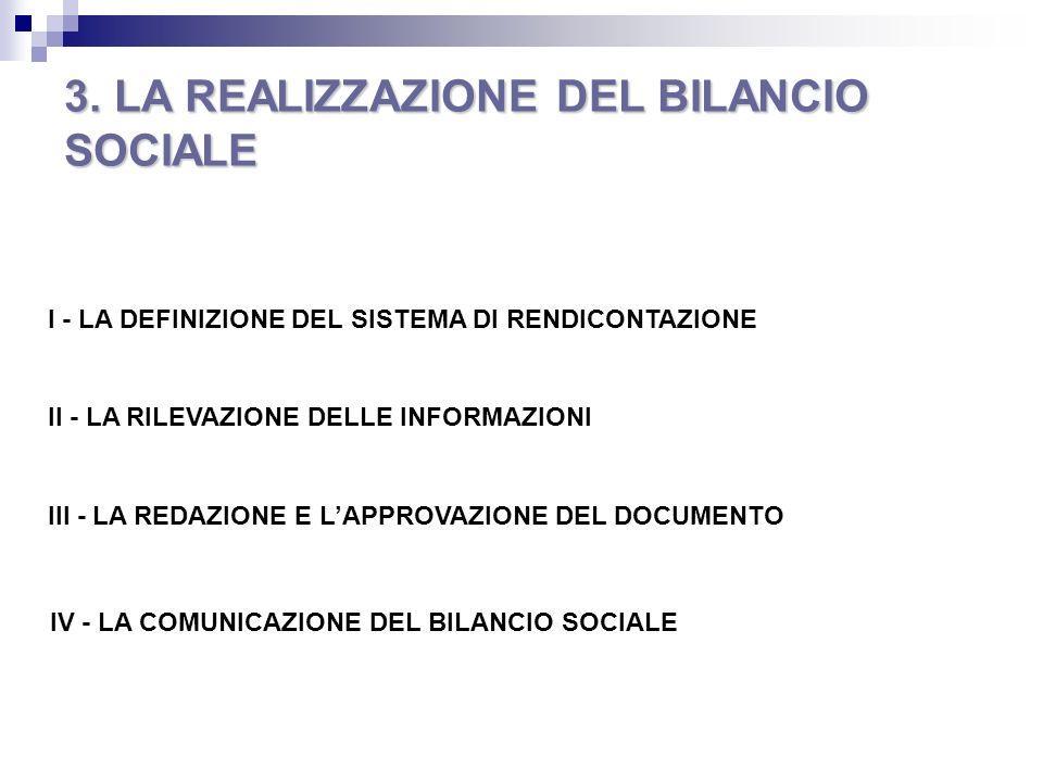 3. LA REALIZZAZIONE DEL BILANCIO SOCIALE