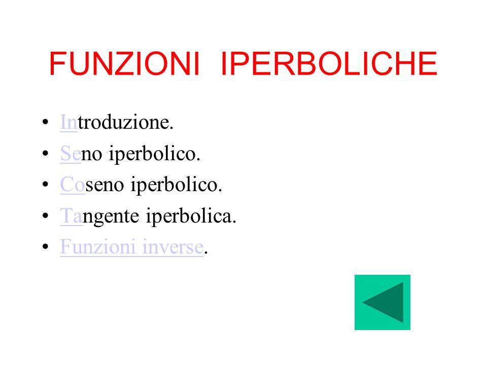 FUNZIONI IPERBOLICHE Introduzione. Seno iperbolico. Coseno iperbolico.