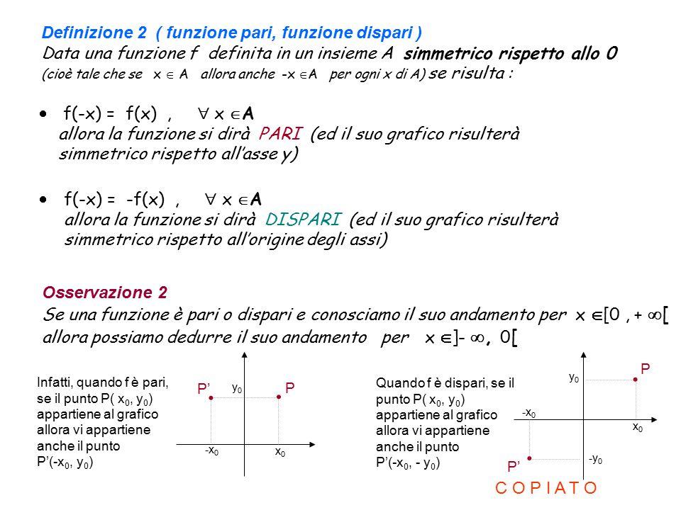 Definizione 2 ( funzione pari, funzione dispari ) Data una funzione f definita in un insieme A simmetrico rispetto allo 0 (cioè tale che se x  A allora anche -x A per ogni x di A) se risulta :