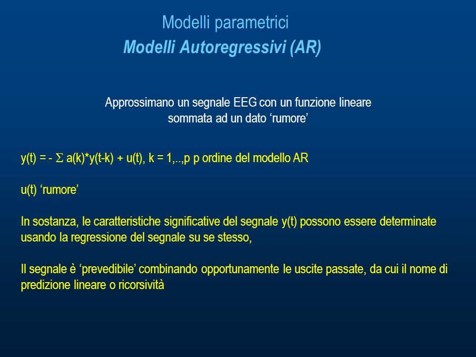 Modelli parametrici Modelli Autoregressivi (AR)
