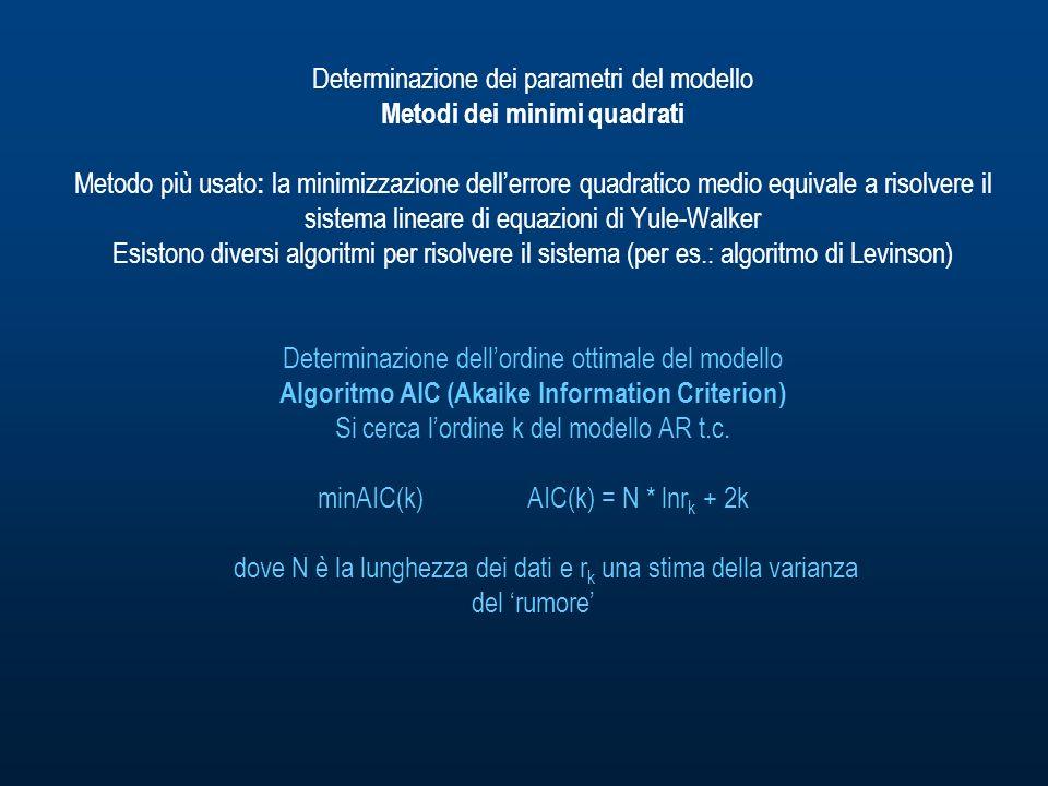 Determinazione dei parametri del modello Metodi dei minimi quadrati Metodo più usato: la minimizzazione dell'errore quadratico medio equivale a risolvere il sistema lineare di equazioni di Yule-Walker Esistono diversi algoritmi per risolvere il sistema (per es.: algoritmo di Levinson) Determinazione dell'ordine ottimale del modello Algoritmo AIC (Akaike Information Criterion) Si cerca l'ordine k del modello AR t.c.