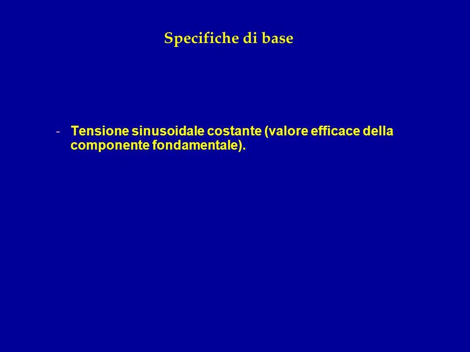 Specifiche di base Tensione sinusoidale costante (valore efficace della componente fondamentale).
