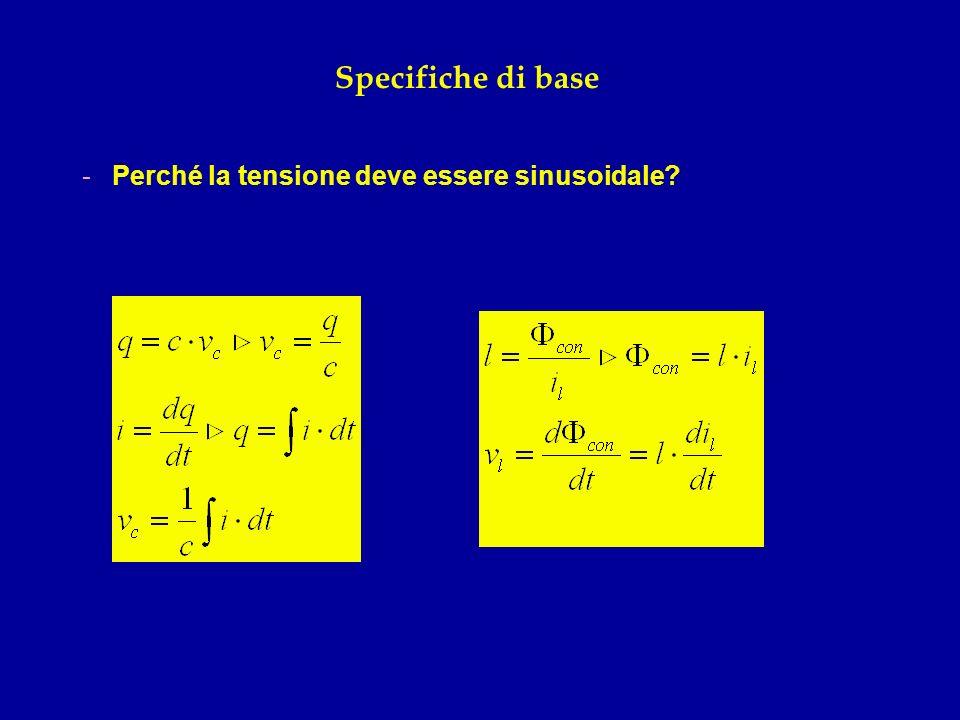 Specifiche di base Perché la tensione deve essere sinusoidale
