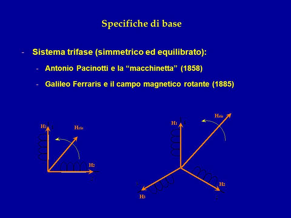 Specifiche di base Sistema trifase (simmetrico ed equilibrato):
