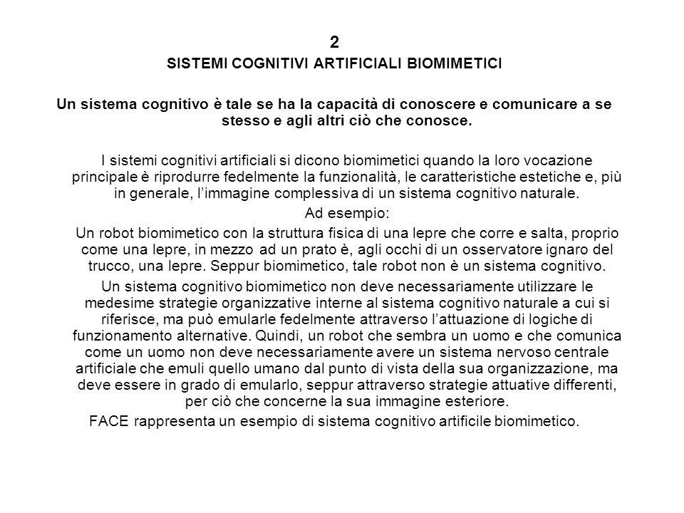 SISTEMI COGNITIVI ARTIFICIALI BIOMIMETICI