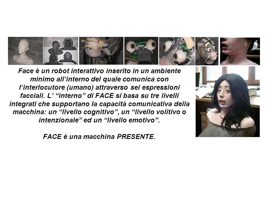 Face è un robot interattivo inserito in un ambiente minimo all'interno del quale comunica con l'interlocutore (umano) attraverso sei espressioni facciali.