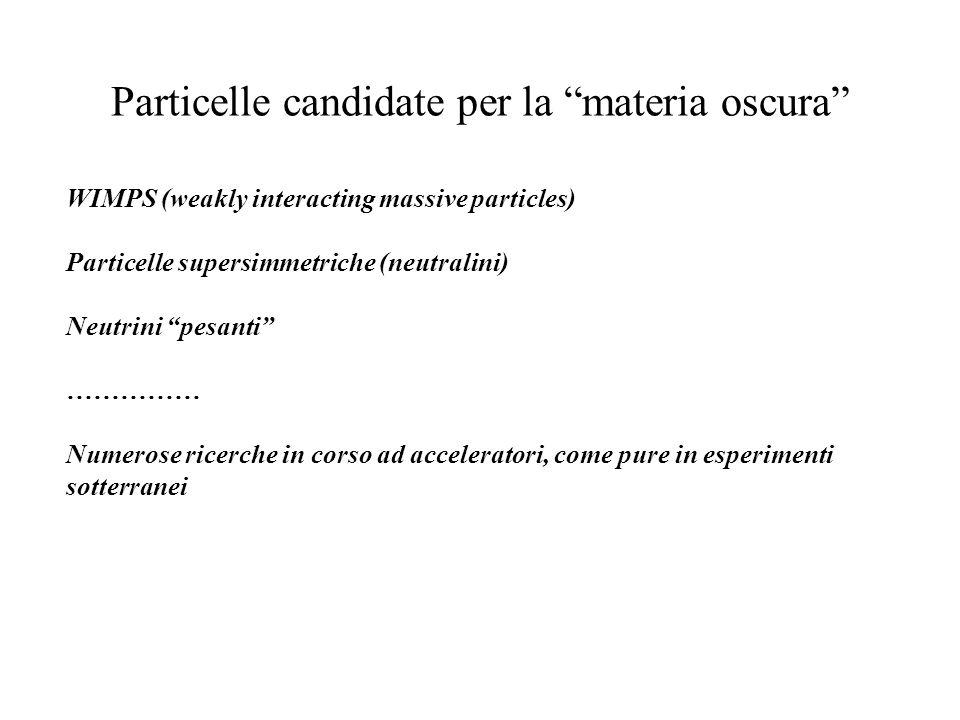 Particelle candidate per la materia oscura