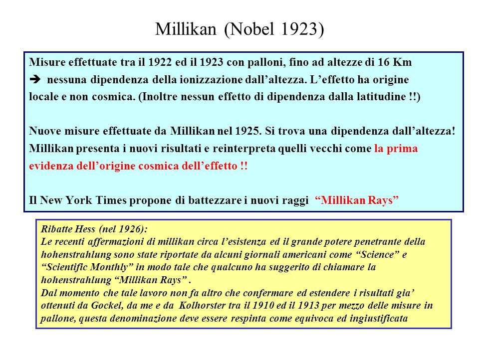 Millikan (Nobel 1923) Misure effettuate tra il 1922 ed il 1923 con palloni, fino ad altezze di 16 Km.