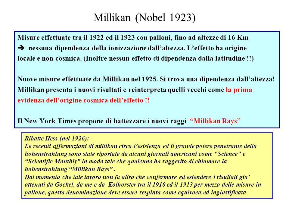 Millikan (Nobel 1923)Misure effettuate tra il 1922 ed il 1923 con palloni, fino ad altezze di 16 Km.