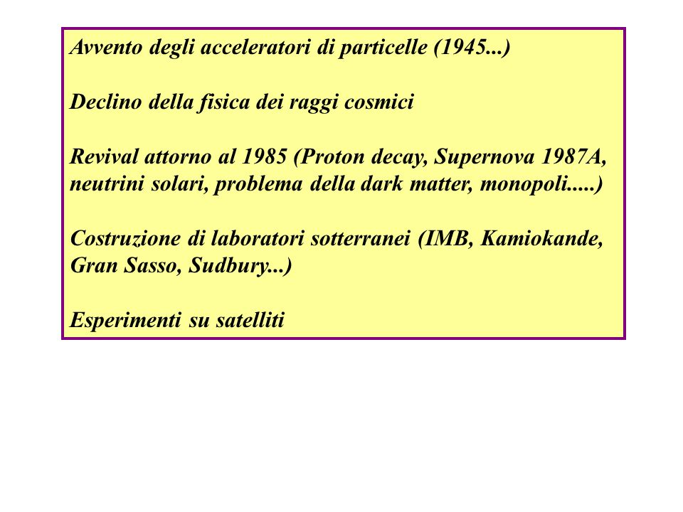 Avvento degli acceleratori di particelle (1945...)
