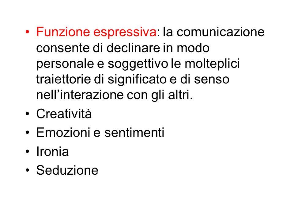 Funzione espressiva: la comunicazione consente di declinare in modo personale e soggettivo le molteplici traiettorie di significato e di senso nell'interazione con gli altri.