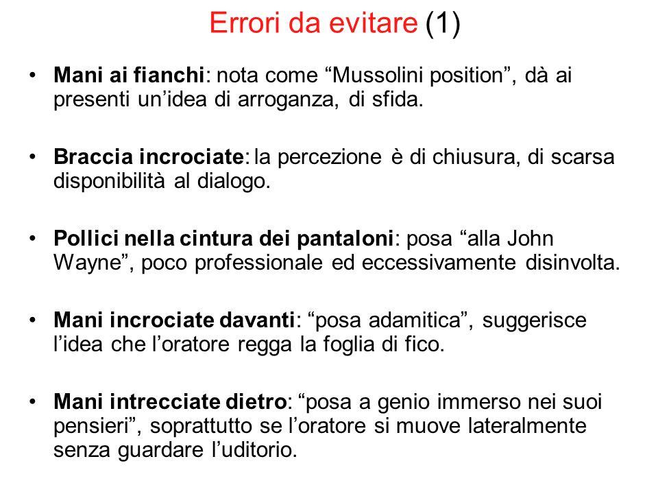 Errori da evitare (1) Mani ai fianchi: nota come Mussolini position , dà ai presenti un'idea di arroganza, di sfida.