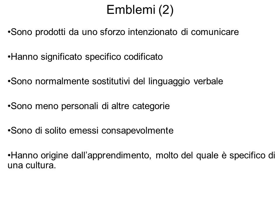 Emblemi (2) Sono prodotti da uno sforzo intenzionato di comunicare