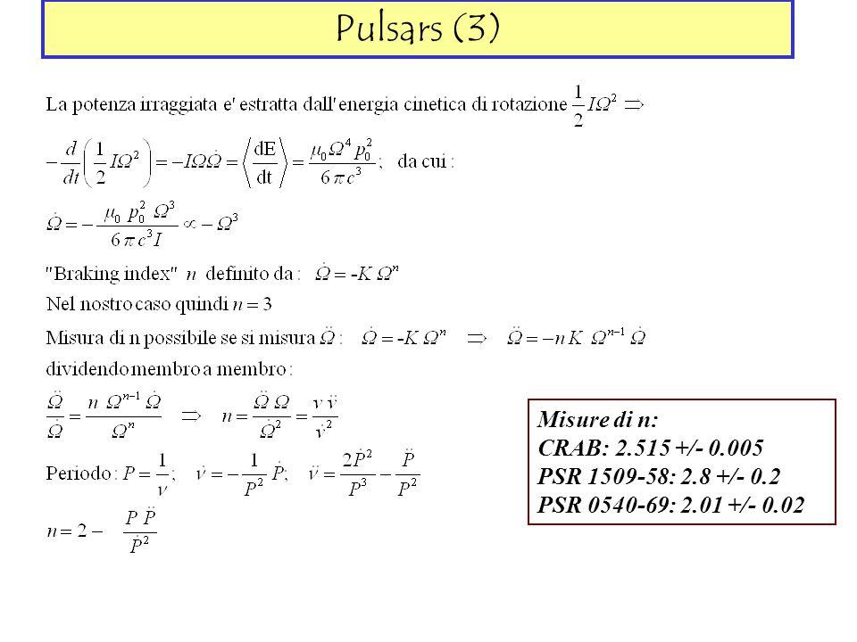 Pulsars (3) Misure di n: CRAB: 2.515 +/- 0.005
