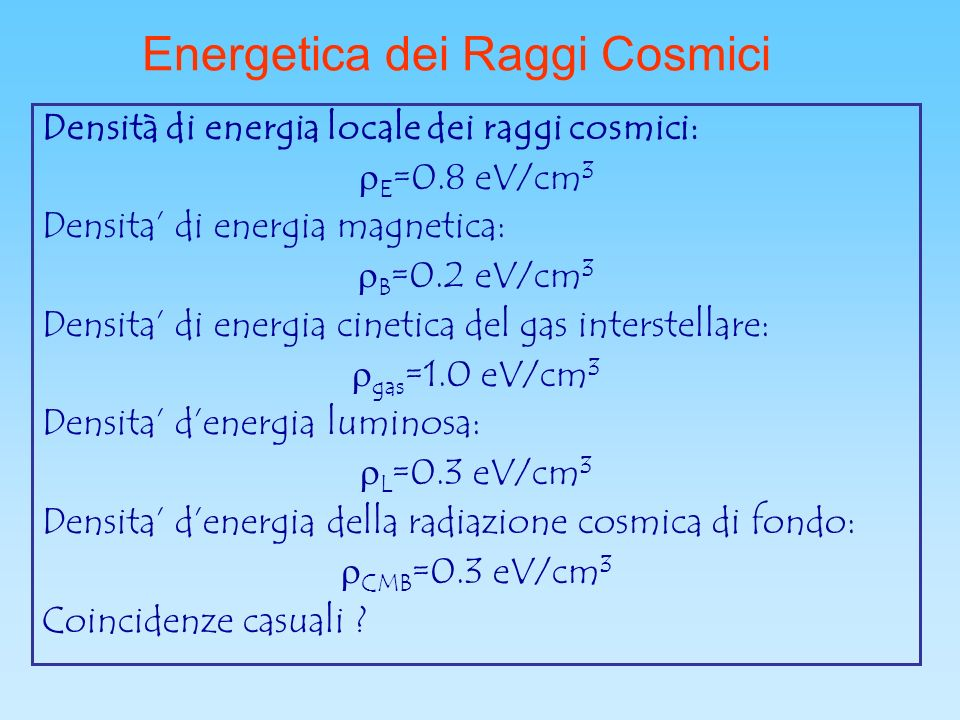 Energetica dei Raggi Cosmici