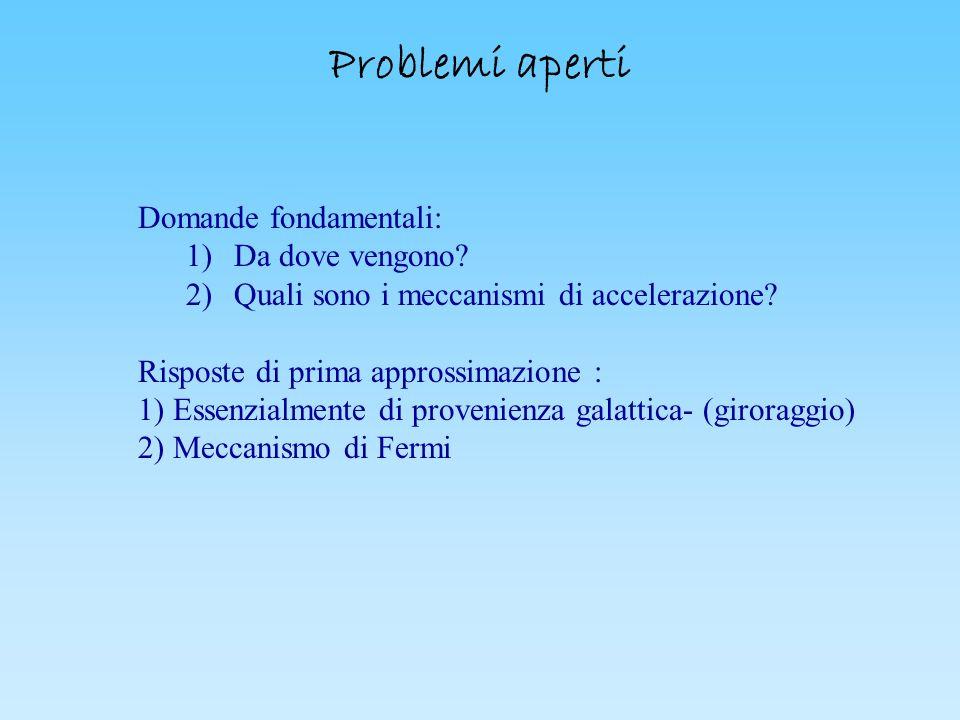 Problemi aperti Domande fondamentali: ) Da dove vengono