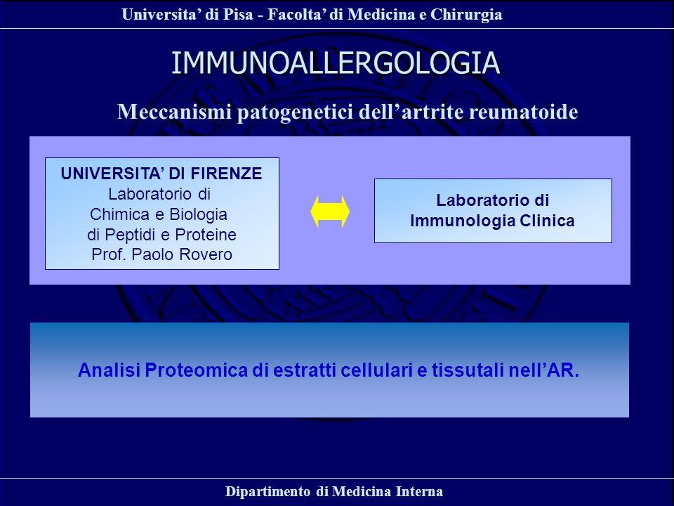 IMMUNOALLERGOLOGIA Meccanismi patogenetici dell'artrite reumatoide
