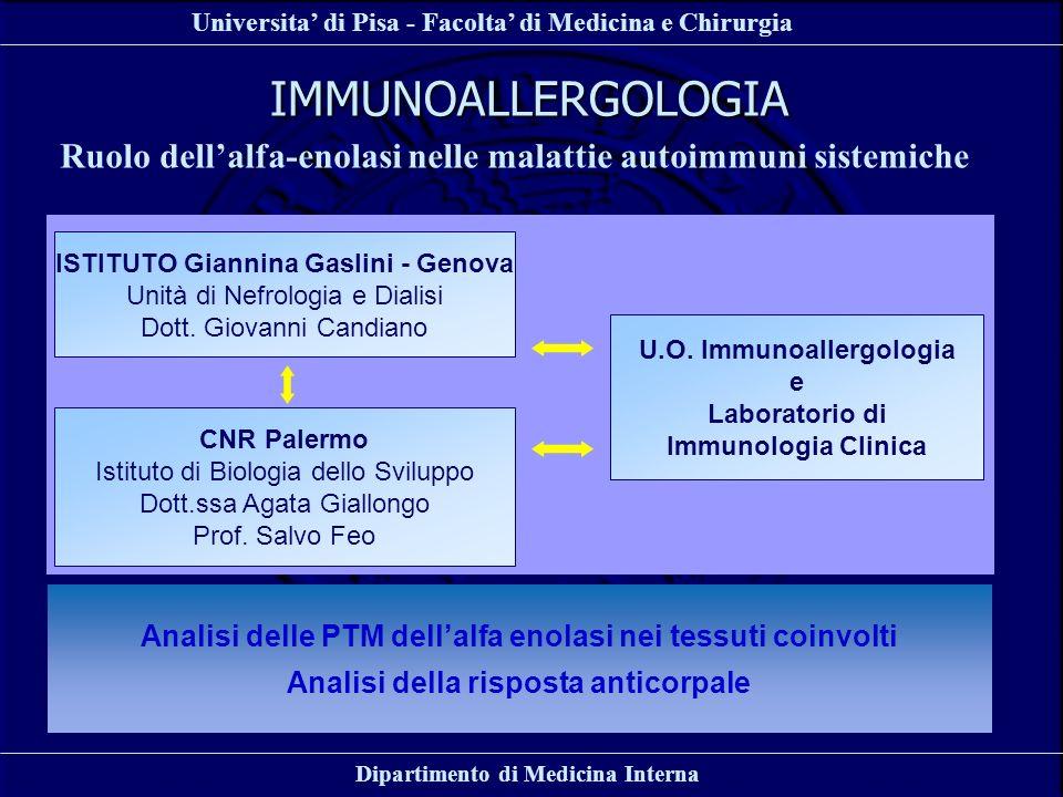IMMUNOALLERGOLOGIA Ruolo dell'alfa-enolasi nelle malattie autoimmuni sistemiche. ISTITUTO Giannina Gaslini - Genova.