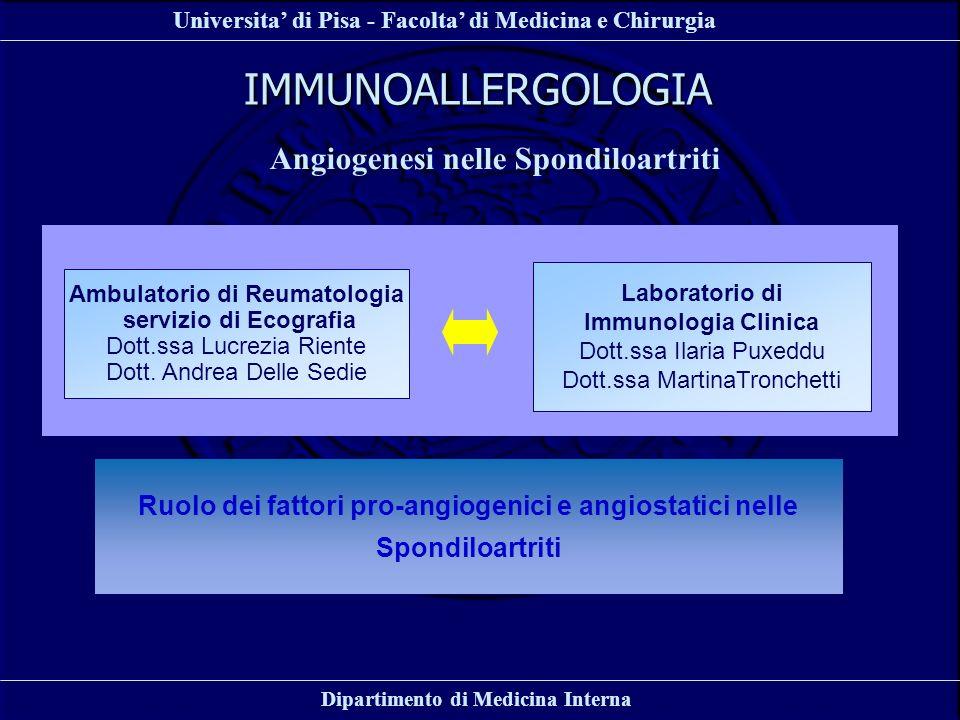 IMMUNOALLERGOLOGIA Angiogenesi nelle Spondiloartriti