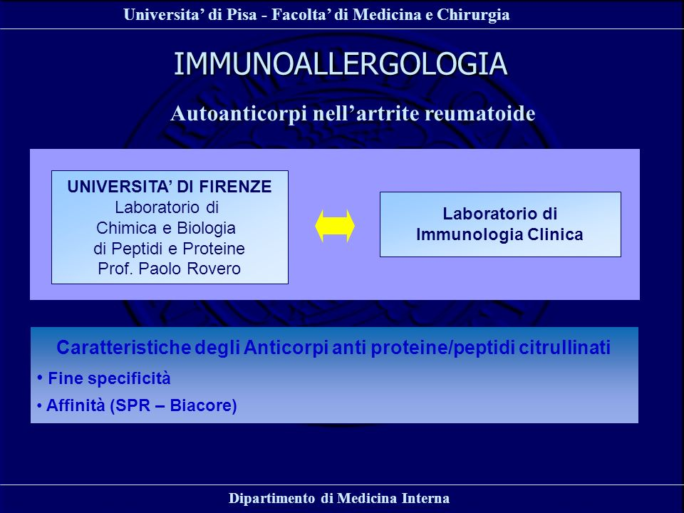 IMMUNOALLERGOLOGIA Autoanticorpi nell'artrite reumatoide