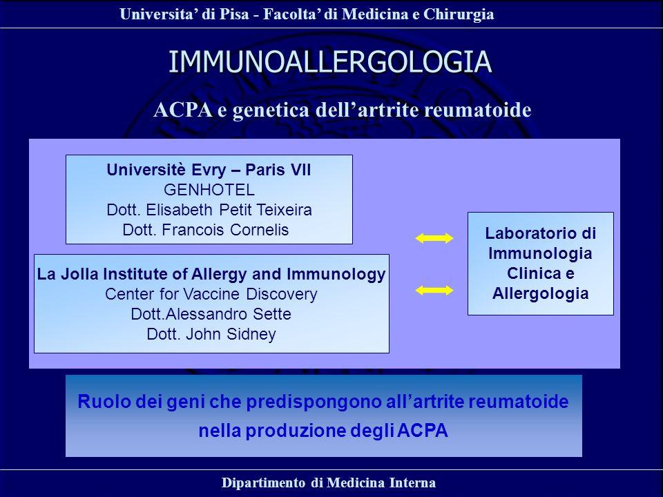 IMMUNOALLERGOLOGIA ACPA e genetica dell'artrite reumatoide
