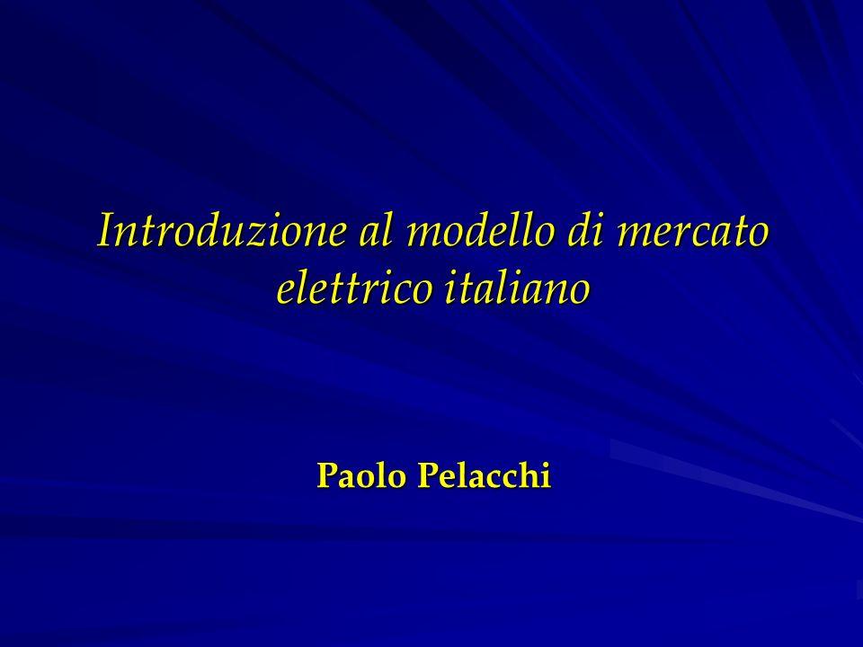 Introduzione al modello di mercato elettrico italiano