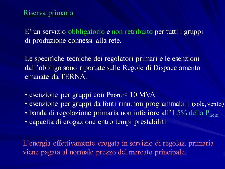 Riserva primaria E' un servizio obbligatorio e non retribuito per tutti i gruppi di produzione connessi alla rete.