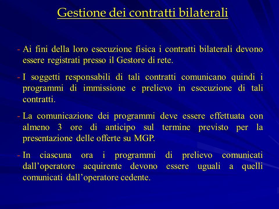 Gestione dei contratti bilaterali