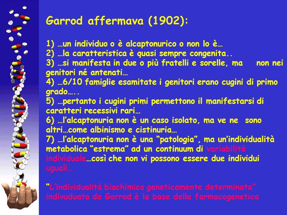 Garrod affermava (1902): 1) …un individuo o è alcaptonurico o non lo è… 2) …la caratteristica è quasi sempre congenita..