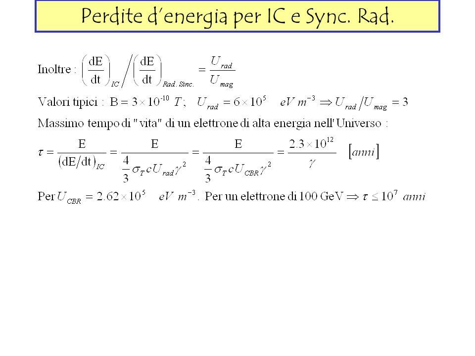 Perdite d'energia per IC e Sync. Rad.