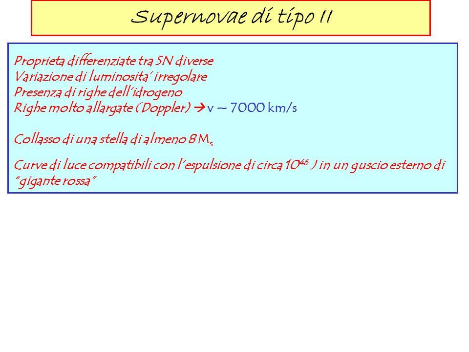 Supernovae di tipo II Proprieta differenziate tra SN diverse
