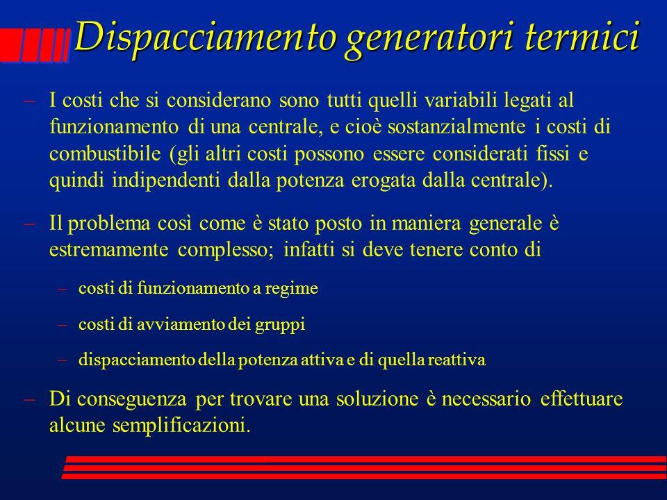 Dispacciamento generatori termici