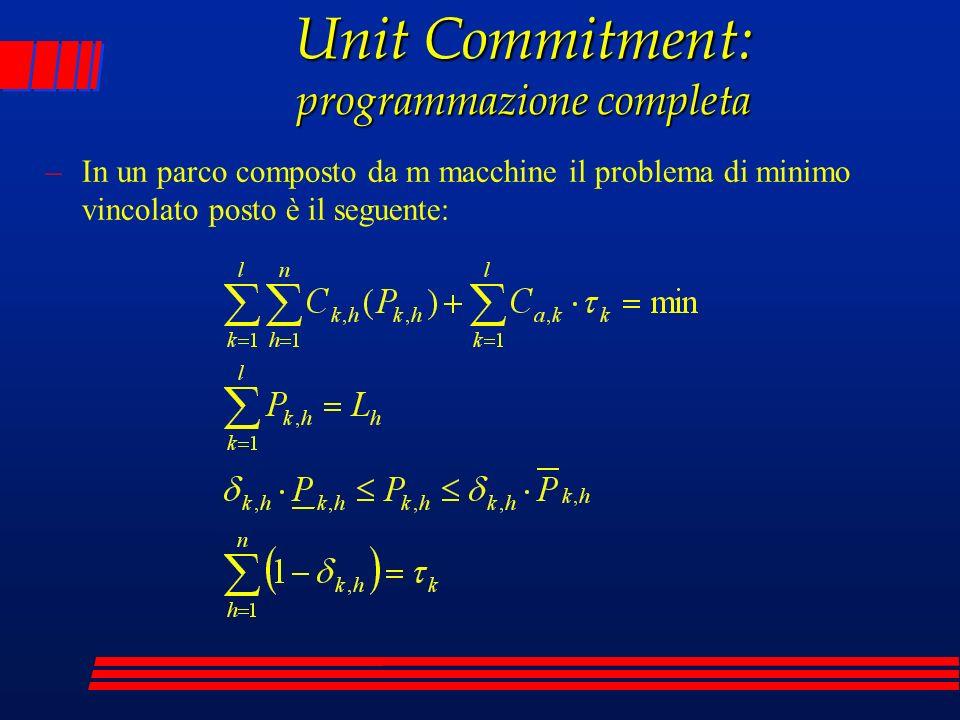 Unit Commitment: programmazione completa
