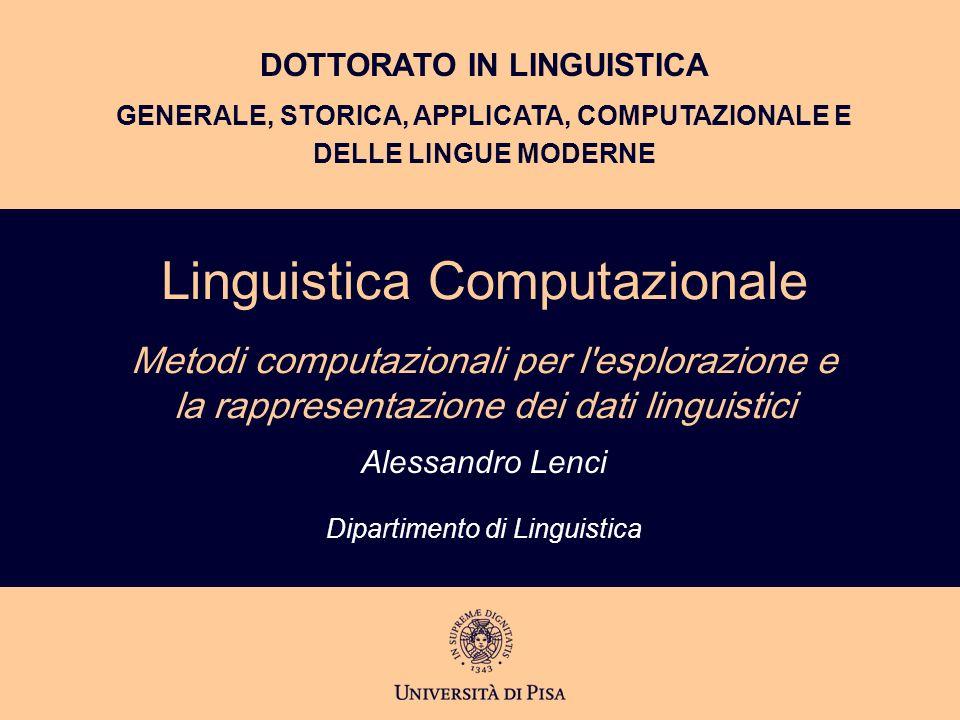 Alessandro Lenci Dipartimento di Linguistica