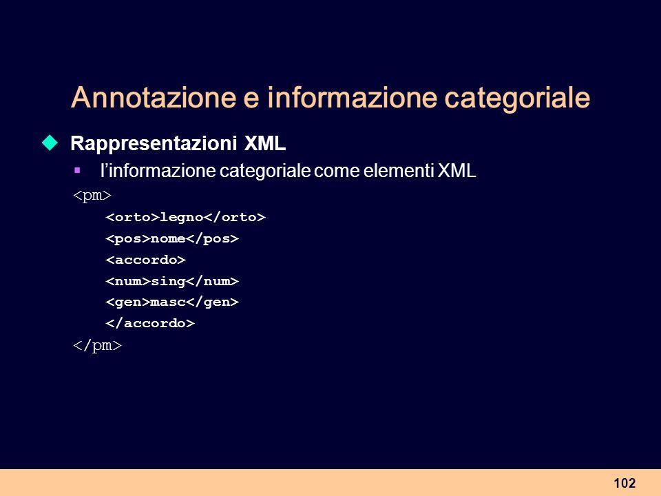 Annotazione e informazione categoriale