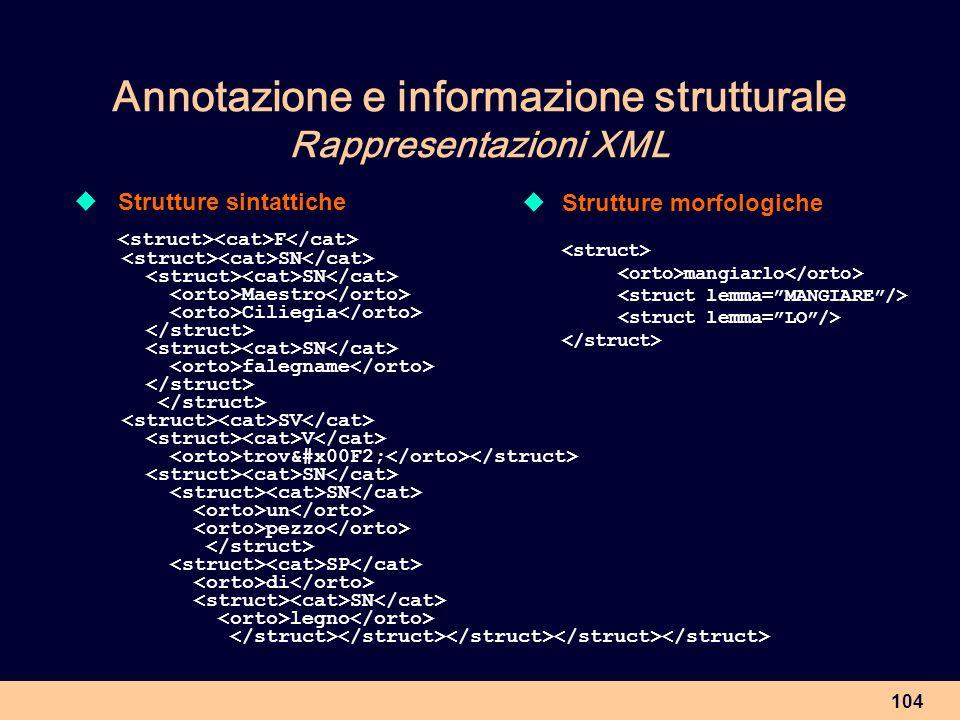 Annotazione e informazione strutturale Rappresentazioni XML