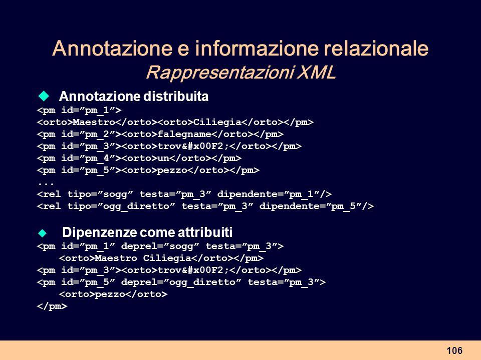 Annotazione e informazione relazionale Rappresentazioni XML