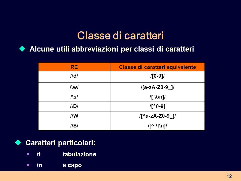Classe di caratteri equivalente
