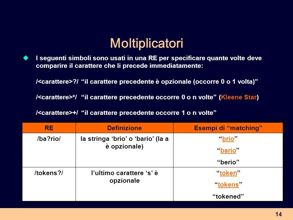 MoltiplicatoriI seguenti simboli sono usati in una RE per specificare quante volte deve comparire il carattere che li precede immediatamente: