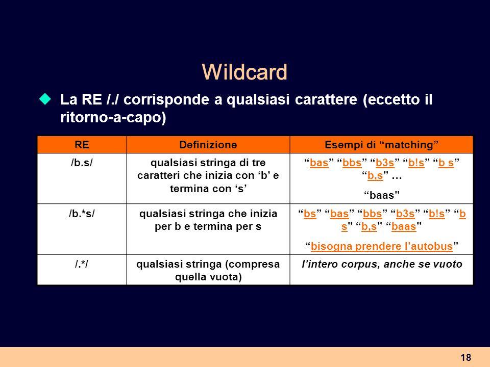 WildcardLa RE /./ corrisponde a qualsiasi carattere (eccetto il ritorno-a-capo) RE. Definizione. Esempi di matching