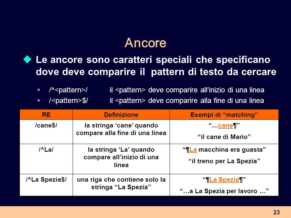 Ancore Le ancore sono caratteri speciali che specificano dove deve comparire il pattern di testo da cercare.